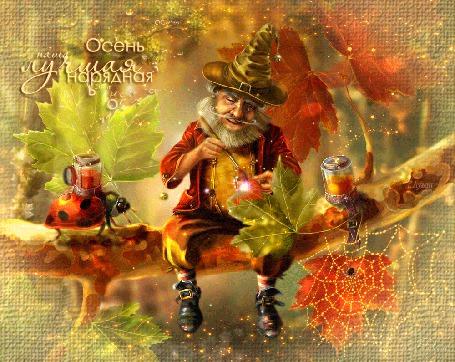Анимация Гном красит листья в осенние цвета (Осень наша лучшая нарядная) Е. Лузан