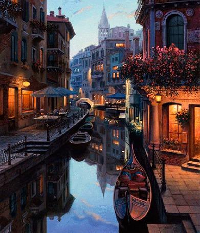 Анимация На улочках Венеции наступает вечер, в окнах загорается и гаснет свет (© Миропия_Мира), добавлено: 13.09.2015 14:57