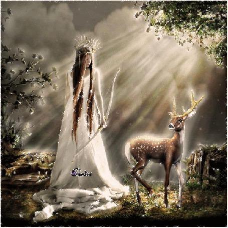 Анимация Девушка с луком стоит рядом с оленем