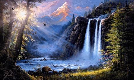 Анимация Водопад в лесу на рассвете (© Ловетта), добавлено: 15.09.2015 11:32