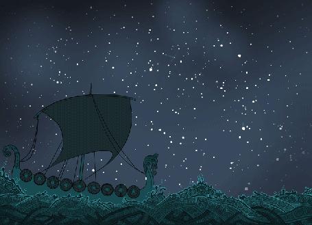 Анимация Корабль в море и созвездия в ночном небе (© Krista Zarubin), добавлено: 15.09.2015 11:34