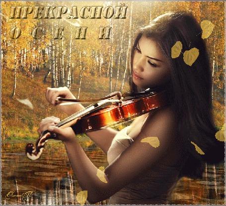 Анимация Девушка играет на скрипке на фоне падающих листьев, легкой ряби пруда и осенних деревьев, надпись Прекрасной осени, автор Ольга П