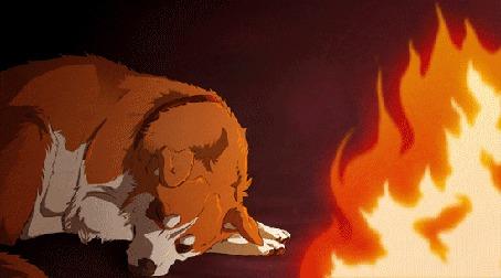 Анимация Пес спит у огня костра (© Akela), добавлено: 17.09.2015 17:38