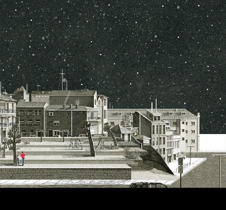 Анимация Город под ночным небом