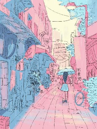 Анимация Девушка под зонтом идет по городу