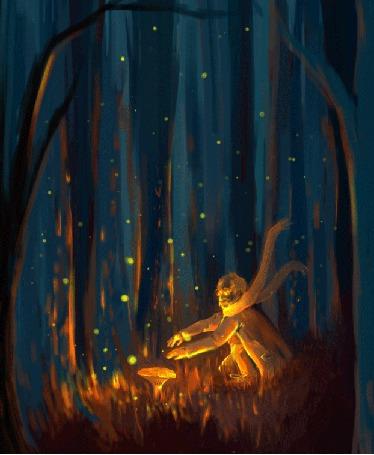 Анимация Человек сидит у светящегося гриба в фантастическом лесу (© zmeiy), добавлено: 18.09.2015 19:16