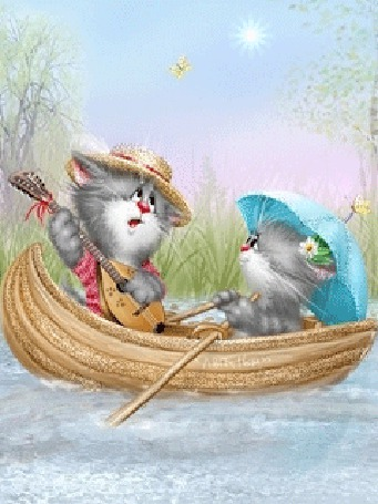 Анимация Котик, играя на гитаре и мурлыча песенку, катает на лодке по реке кошечку, сидящую под зонтиком в солнечный день