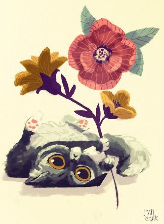 Анимация Милый котенок с цветком