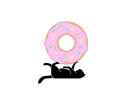 Анимация Черный кот лежа на спине, крутит лапками большой пончик (© Seona), добавлено: 19.09.2015 20:01