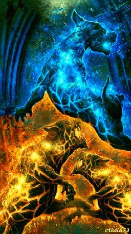 Анимация Пылающие голубым и желтым огнем яростные бойцовские псы, Akela73