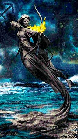 Анимация Девушка парящая над водой натянула тетиву лука, что бы пустить огненную стрелу, Akela73