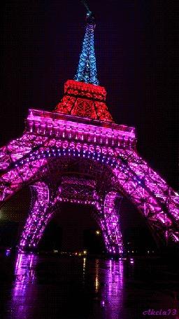 Анимация Сверкающая разными огнями, под цвет национального трехцветного флага, Эйфелева башня в Париже, Франция, Akela73 (© Akela), добавлено: 20.09.2015 09:50