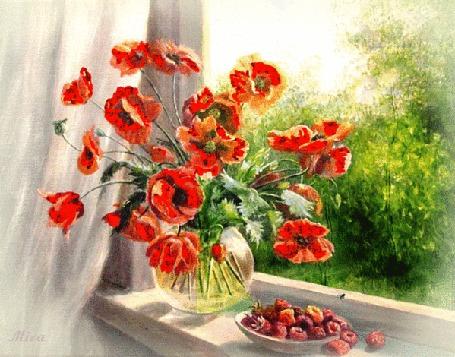 Анимация Ваза с маками и тарелочка с ягодами стоят на подоконнике, ползает муха, за окном идет дождь