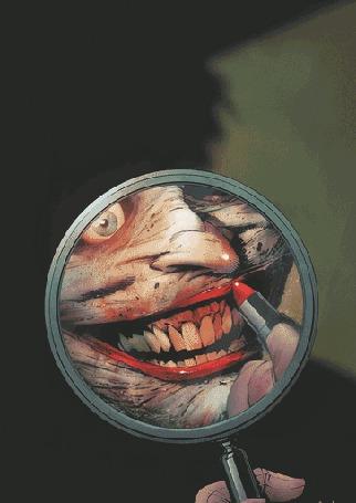 Анимация Чудовище смотрит в зеркало и красит губы