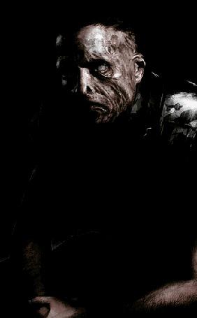 Анимация Монстр мужчина без глаза сидит в луче света