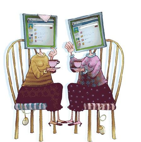Анимация Две женщины сидят на стульях и пьют чай, вместо головы мониторы, со стульев свешиваются компьютерные мышки (© phlint), добавлено: 21.09.2015 13:01