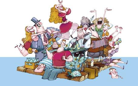 Анимация Веселая компания, мужчины и женщины плывут на плоту