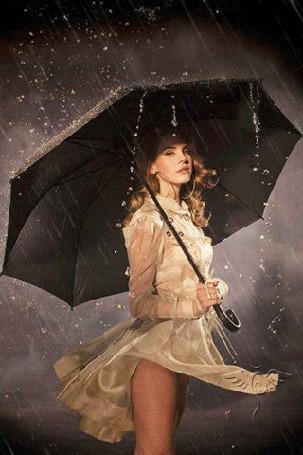 Анимация Американская певица, автор-исполнитель Лана Дель Рей / Lana Del Rey / стоит с зонтом под дождем (© zmeiy), добавлено: 22.09.2015 11:08