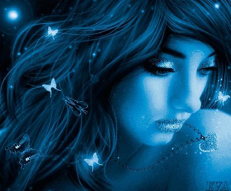 Анимация Грустная девушка с порхающими бабочками в волосах, фон голубо-синий, автор EVA