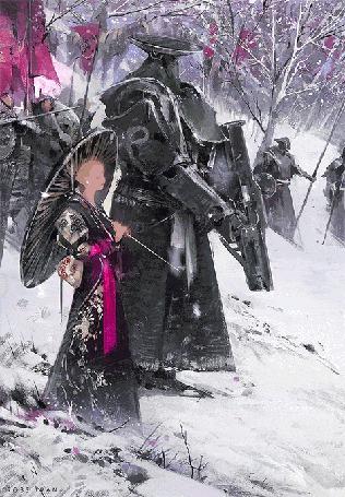 Анимация Девушка с зонтом и воин под падающим снегом