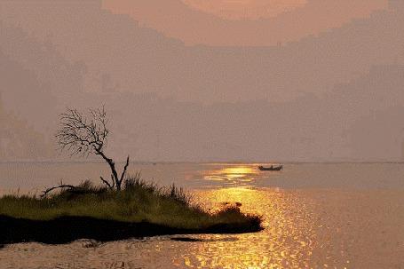 Анимация Лодка с рыбаком на воде (© zmeiy), добавлено: 24.09.2015 17:23
