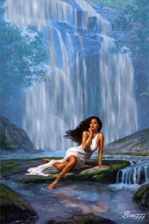 Анимация Девушка сидит у воды на фоне водопада (© zmeiy), добавлено: 24.09.2015 17:43