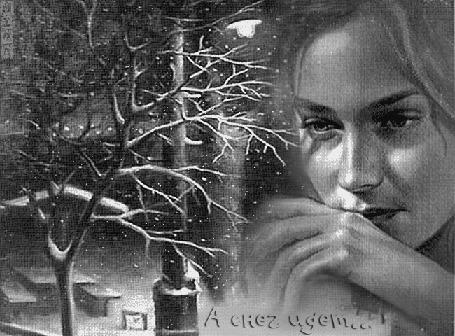 Анимация Девушка грустит в холодный зимний вечер (А снег идет!) Mira1