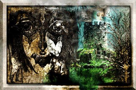 Анимация Окаменевшие рыцари на фоне башни, окруженной водой, облака и дама, на расплавляющейся картине