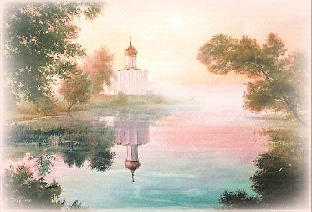 Анимация По берегам реки растут деревья, вдалеке стоит белая церковь, лучи солнца и церковь отражаются в воде