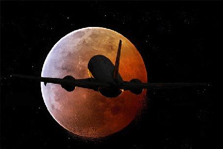 Анимация Самолет летит по направлению к Луне (© Миропия_Мира), добавлено: 28.09.2015 09:18