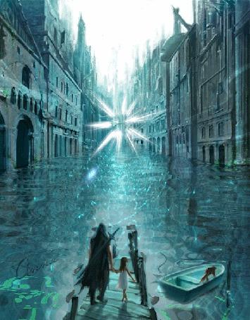 Анимация Воин ведет девочку по пирсу к лодке, с котом на корме, в затопленном городе вдали переливается магический кристалл бросая блики на воду