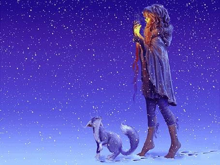 Анимация Девушка идет со свечой в руках, рядом с ней бежит лисенок