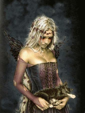 Анимация Готическая девушка с черными крыльями держит в руках котенка