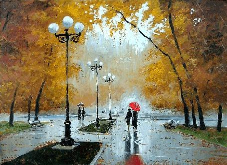 Анимация Осенний парк, дождь, лужи, прохожие под зонтом (художник А. Болотов) (© Миропия_Мира), добавлено: 03.10.2015 19:59