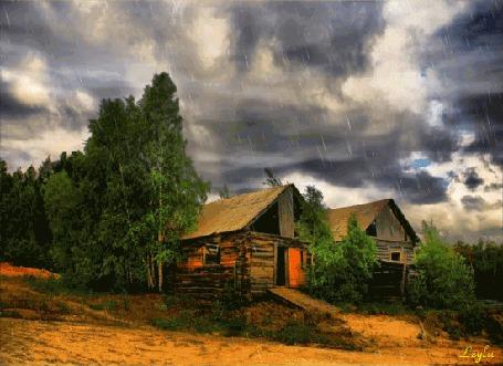 Анимация Гроза в деревне летом, Leyla (© Ловетта), добавлено: 04.10.2015 16:58