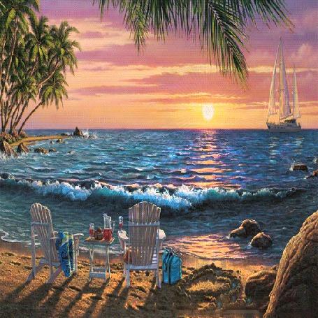 Анимация На берегу моря стоят шезлонги и столик с угощением, на море закат и вдали дрейфует парусник (© Ловетта), добавлено: 04.10.2015 17:14