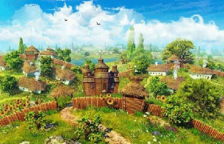 Анимация Старинное поселение в летнюю пору (© Ловетта), добавлено: 04.10.2015 17:17