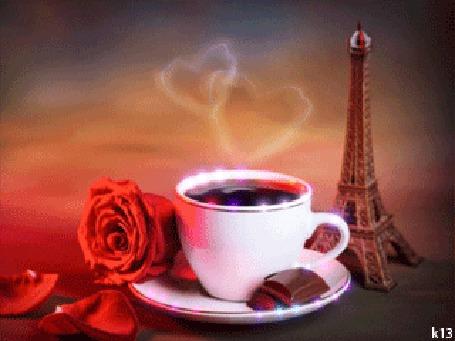 Анимация Бокал кофе и красная роза, на фоне Эйфелевой башни. Автор k13