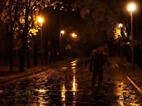 Анимация Парень и девушка целуются в ночном сквере под дождем, в свете фонарей, Laliko (© Шал), добавлено: 05.10.2015 03:30