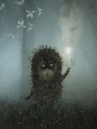 Анимация Ёжик держит свечу и смотрит на бабочек из мультфильма Ежик в тумане (© МилаДЖИ), добавлено: 06.10.2015 10:58