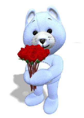 Анимация Синяя плюшевая собачка, дарит букет алых роз