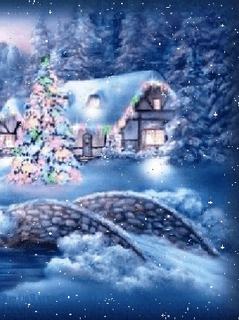 Анимация Дом с заснеженной крышей, мост через речку, новогодняя елка, идет снег