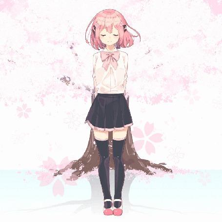 Анимация Девушка с розовыми волосами стоит под цветущей сакурой, by sakuragi ren (© chucha), добавлено: 07.10.2015 11:14