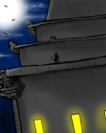 Анимация Черный кот в ночи ловит на крыше летучую мышь