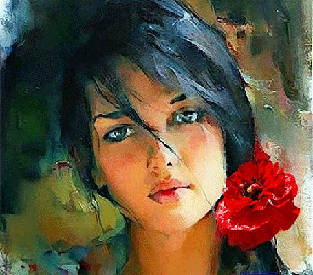 Анимация Девушка с цветком в волосах (© zmeiy), добавлено: 07.10.2015 19:08