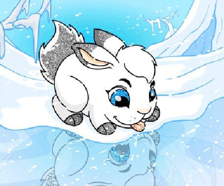 Анимация Милый кролик стоит на снегу, смотрит на свое отражение и показывает язык