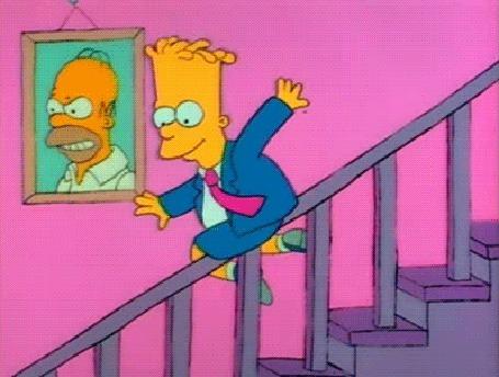 Анимация Барт Симпсон спускается вниз по перилам, мультфильм Симпсоны