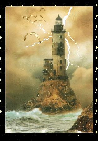 Анимация Волны разбиваются о маяк, сверху сверкают молнии и летят чайки