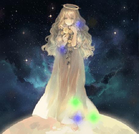 Анимация Девушка с цветами в руках, art zerochan (© zmeiy), добавлено: 10.10.2015 17:59