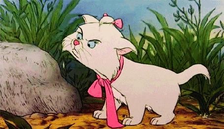 Анимация Мари показывает язык, котенок намок, бантик развязан, мультик Коты аристократы